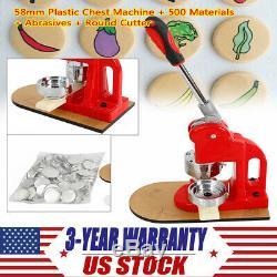 100% new Button Maker Machine Badge Punch Press 1 Circle Cutter + 500 Parts