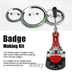 1/1.25/2.28 Button Maker Badge Punch Press Machine w. 1000 Buttons Parts