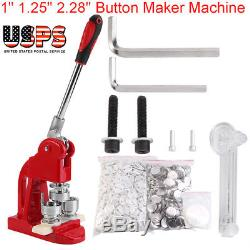 1 1.25 2.28 Button Maker Machine Badge Punch Press + 1000 Buttons