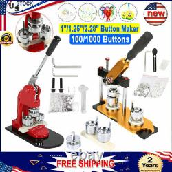 1/1.25/2.28 Rotated Button Maker Badge Punch Press Machine + 100/1000 Buttons