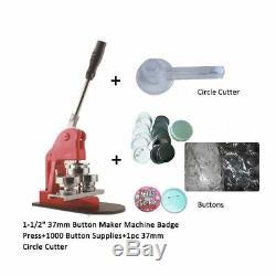 1-1/2 37mm Button Maker Machine Badge Press+1000 Buttons, 1pc Circle Cutter