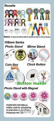 1-1/4mm KIT! N3 32mm Button Maker+100 All Metal Pin Badge+Circle Cutter DIY