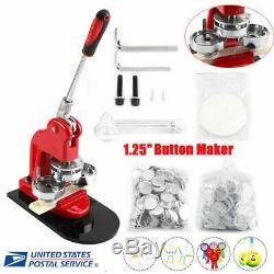 1.25 Button Maker Machine Badge Punch Press 1000 Parts Circle Cutter Tool Kits