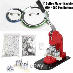 1 25mm Badge Button Maker Punch Press Making Machine 1000 Parts+Circle Cutter