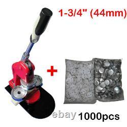 1-3/4 (44mm) DIY Button Maker Machine Badge Press + 1000pcs Button Supplies New