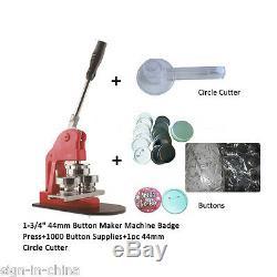 1-3/4 44mm Pin Badge Button Maker Machine+1000 Buttons+Circle Cutter