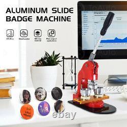 1.5 Badge Button Maker Punch Press Machine Pins Kit Aluminum Slide+Button Parts