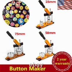25/58/75mm Button Maker Machine+100 Buttons Circle Badge Punch Press Rotate USA