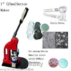 25mm Button Maker Machine Badge Press+1000 Button Supplies + 1 Circle Cutter