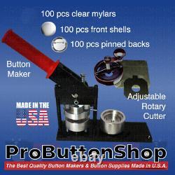 2-1/4 Tecre Button Making Kit Button Machine Button Maker +Cutter+100 Pin Badge