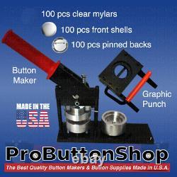 2-1/4 Tecre Button Making Kit Button Machine Button Maker + Punch+100 Pin Badge