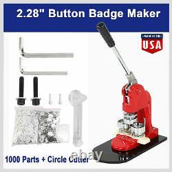 2.28 58mm Button Maker Machine Badge Punch Press 1000 pcs Parts + Circle Cutter