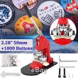 2.28 Badge Making Kit Button Maker Machine +1000 Parts + circle cutter