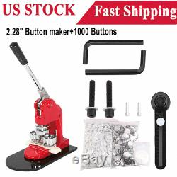 2.28 Button Maker Badge Punch Press Machine + 1000 Buttons Parts