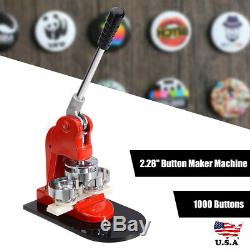 2.28 Button Maker Machine+1000 Buttons Circle Badge Punch Press Pin Hot