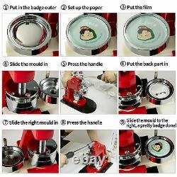 2.3 inch Button Badge Maker Punch Press Machine + 1000 Circle Cutter Parts