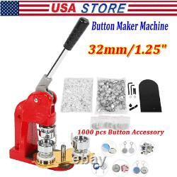 32mm/1.25 Button Maker Machine DIY Round Pin Badge Machine with 1000x Buttons Kit