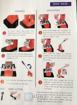 32mm Button Maker Machine + 500 Buttons Making Kit Bags Badge Maker