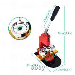 37mm 58mm Button Maker Badge Punch Press Machine+Circle Cutter+Parts Supplies US