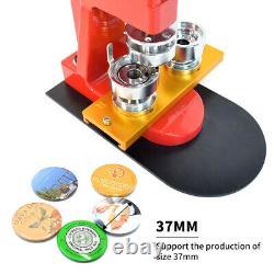 37mm Badge Button Maker Punch Press Machine Pins Kit Aluminum Slide+Button Parts