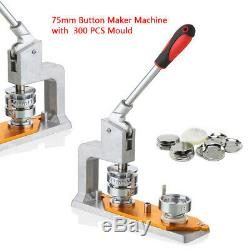 3 75mm Button Maker Machine Badge Punch Press Maker With 300 DIY Buttons Fast New