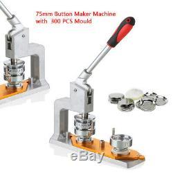 3 (75mm) DIY Round Pin Button Badge Maker Machine + 300 Button Supply Free Gift