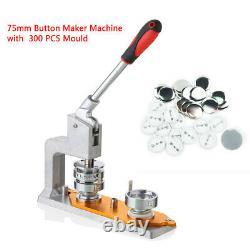 3'' Badge Machine Button Maker 75mm Mould+ 300 Sets Button Circle Punch Press US