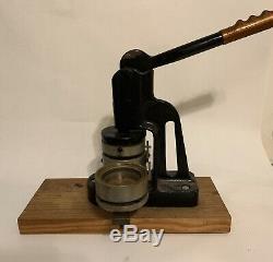 3 Button Badge Maker Machine With Supplies Cast Iron