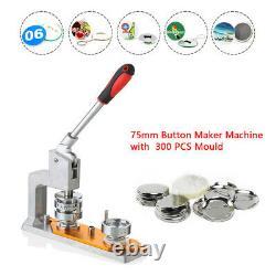 3'' Button Maker Badge Punch Press Machine+75mm Mold 300 pcs Button