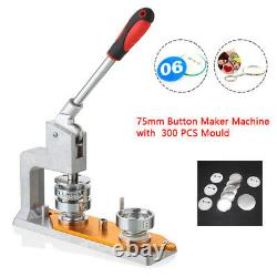 3 Button Maker Punch Press Machine Die Mould 75mm Mold 300 Pin Badge US STOCK