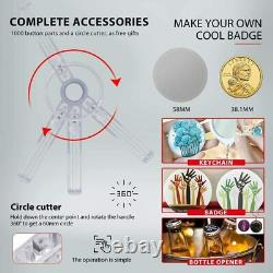 58mm 2.28 Button Maker Badge Press with 1000 Pcs Button Parts and Circle Cutter