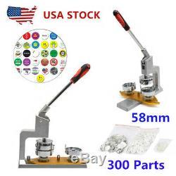 58mm Button Badge Maker Punch Press Machine + 300 Supplies Parts + Circle Cutter