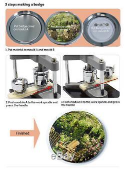 58mm Button Badge Pin Maker Machine Punch Press & Circle Cutter 300PCS Buttons