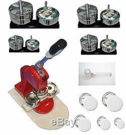 5 in 1 Badge Button Maker Press Machine, 25,32,44,58,75mm Cutter Free 500 Button