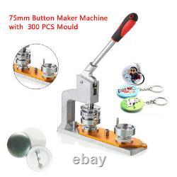 75mm 3'' Badge Machine Button Press Puncher DIY Round Pin Maker + 300 Buttons US