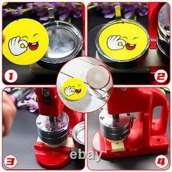 75mm 3 Button Maker Badge Press 100 Pcs Circle Cutter Manual Making Machine