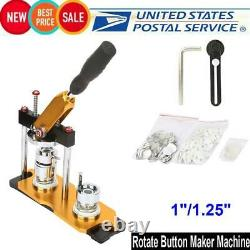 Aluminum Alloy 1 1.25 Button Maker Badge Punch Press Machine 100 Parts for DIY