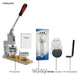 Aluminum Body Button Maker Badge Machine Punch Press 300 Sets Button Supplies
