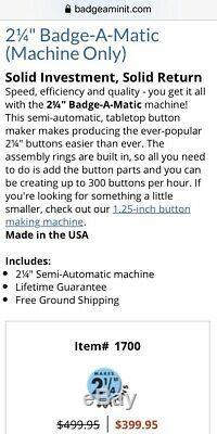 Badge-A-Matic Button Maker Press Machine Badge-A-Minit 2-1/4