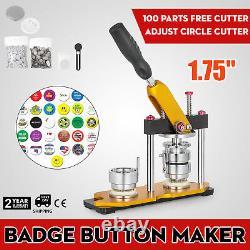 Badge Button Maker 1.73'' 44mm Button Making Kits + 100pcs Parts + Circle Cutter
