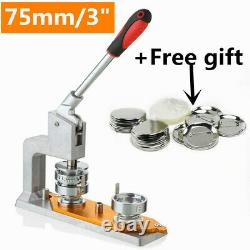 Badge Button Maker Machine Pin Punch Press 75mm / 3 with 300 Button BRAND NEW