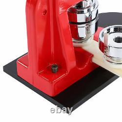 Badge Maker Machine Set Red Aluminum Frame Punching Equipment with 500 Button 44mm