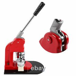 Badge Maker Machine Set Red Aluminum Frame Punching Equipment with 500 Buttons
