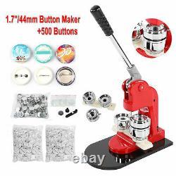 Button Maker 44mm 1.7inch Button Maker Machine Badge Punch Press Pin 500 Buttons