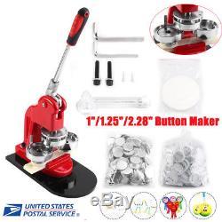 Button Maker Badge Punch Press Machine 1 1.25 2.28 1000 Parts +Circle Cutter