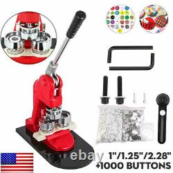 Button Maker Badge Punch Press Machine 1 1.25 2.28 1000 Parts W. Circle Cutter