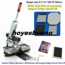 Button Maker Machine+300 Buttons Rectangle Badge Punch Press Pin 2½3½ 6590mm