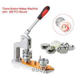 Button Maker Machine+300 Buttons Rectangle Badge Punch Press Pin 75mm