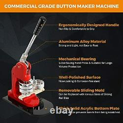 Button Maker Machine DIY Round Pin Maker Kit Badge Press Machine with 1000 Button