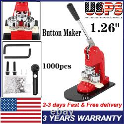 Button Maker Punch Press Machine 3.2cm / 1.26 Die Mould 1000 Badge Parts USA